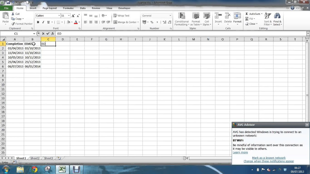 excel how to use eomonth