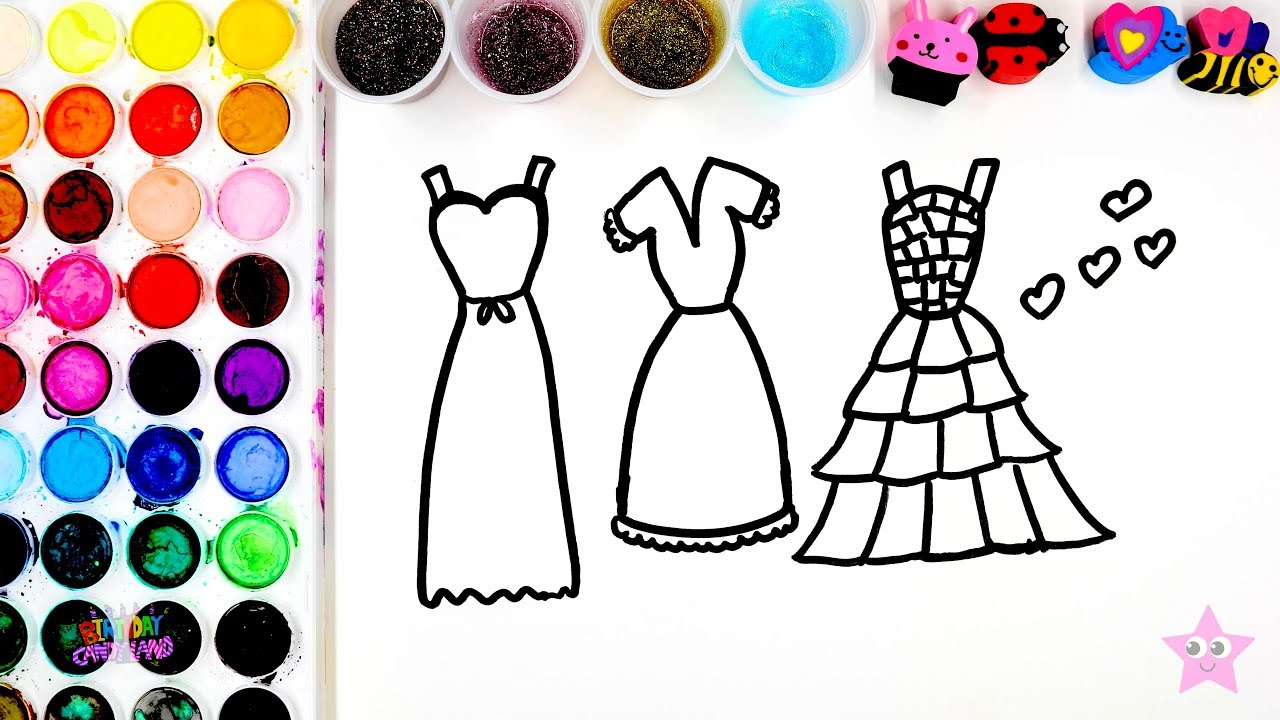 Coloring Beautiful Glitter Dresses Coloring Pages Kids Can Learn