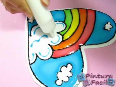 San Valentin *How to Paint Hearts* 2 Pintar Corazones Arcoiris 14 Febrero Falso Vitral Pintura Facil