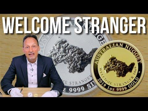 GOLD & SILBER MÜNZE - 1 UNZE WELCOME STRANGER NUGGET