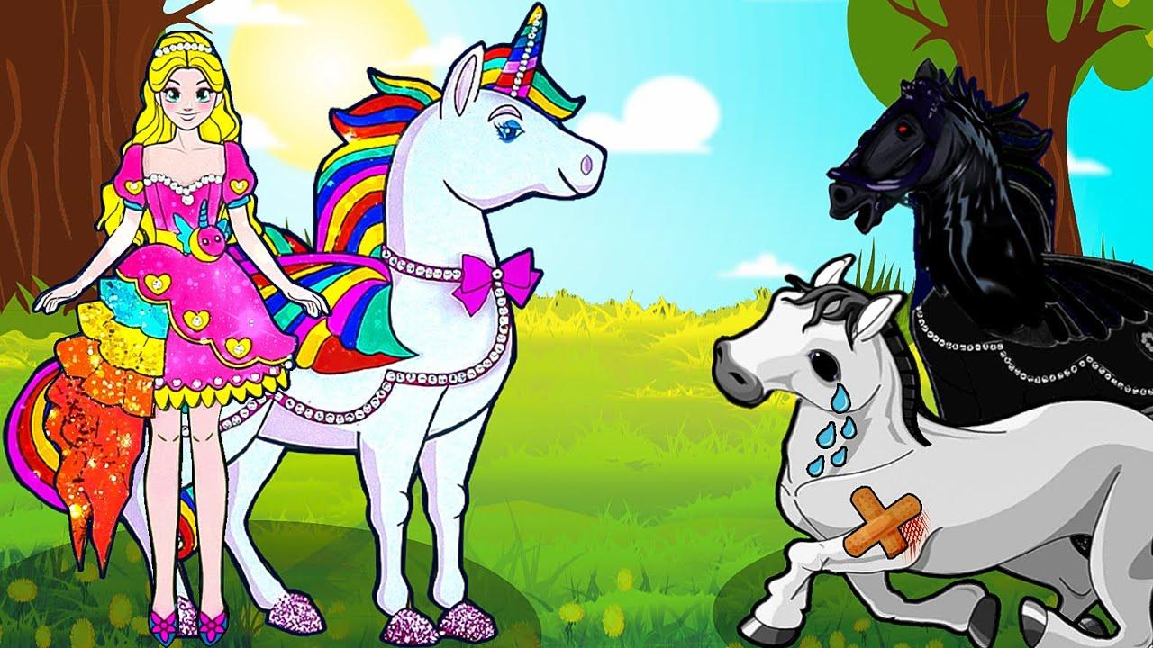 Paper Dolls Dress Up -  Unicorn Horse Family & Rapunzel Princess Dress  - Barbie Story & Crafts