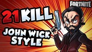 21 KILL GAME JOHN WICK STYLE | Fortnite