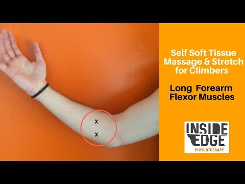 Self massage and stretch of the long forearm flexors