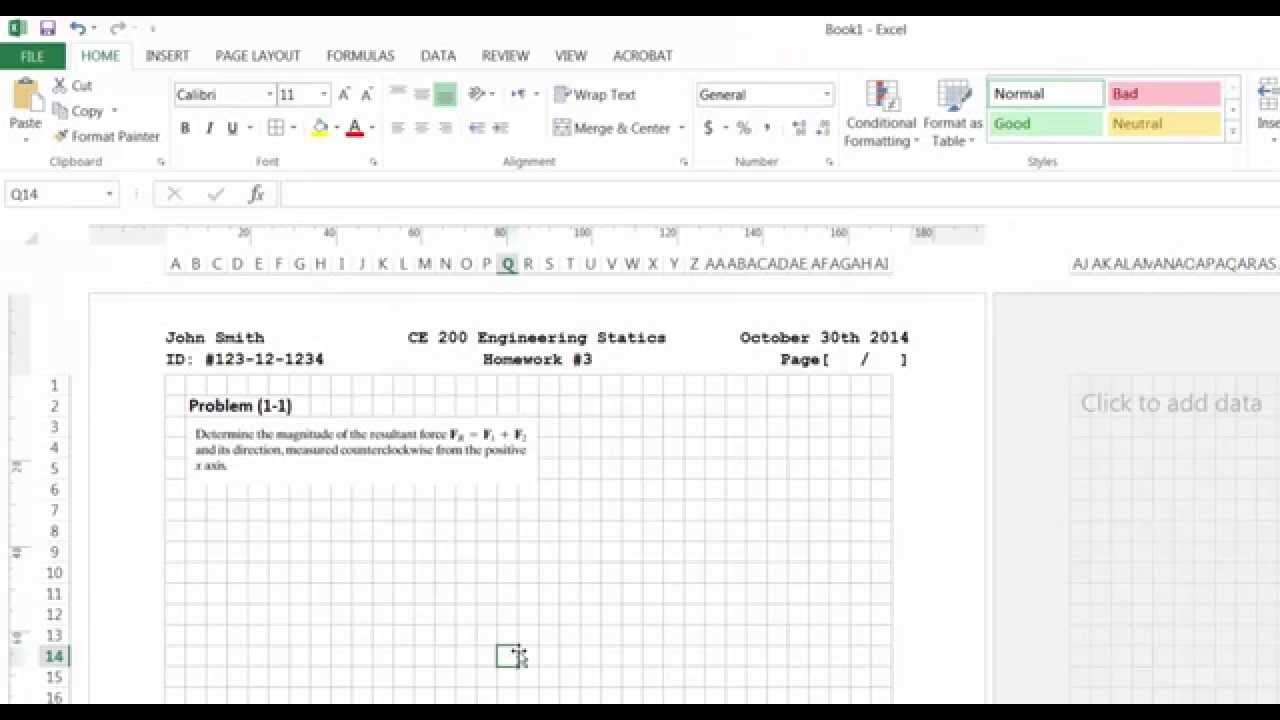 Creating A Homework Assignment Template In Ms Excel Youtube