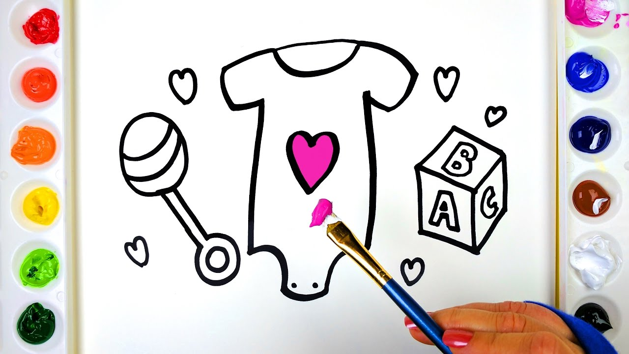 Draw Color Paint a Baby Onesie Coloring Page for Kids to Learn ...