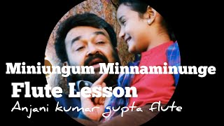 Miniungum Minnaminunge | Oppam | Malyalam Song Flute Lesson | Notes Available |