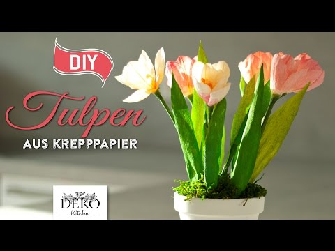 DIY: Frühlingsdeko mit Tulpen aus Krepppapier [How to] Deko Kitchen