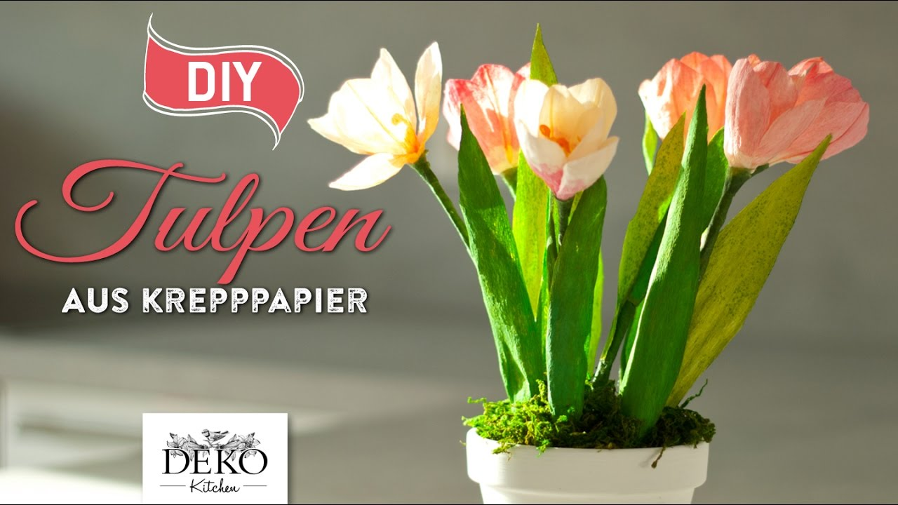 Diy fr hlingsdeko mit tulpen aus krepppapier how to deko kitchen youtube - Youtube deko kitchen ...