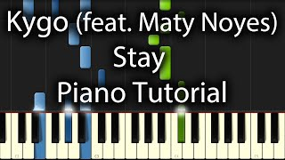 Kygo feat. Maty Noyes - Stay Tutorial (How To Play On Piano)