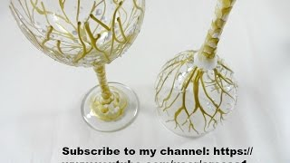 Tree Design Painted Wine Glass Video
