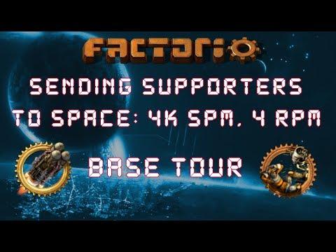 Factorio Sending Supporters To Space - Base Tour: 4k Science & 4 Rockets Per Minute Megabase