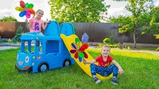 Kids pretend play and build Playground for children Slides Playhouse for kids Outdoor activities
