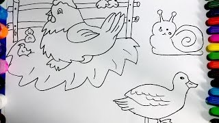 Teach chick drawing | Coloring for chickens and ducks for children