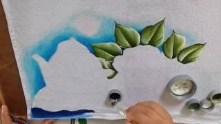 Como Pintar chaleira com rosas com Lia Ribeiro