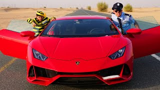 Jason and Alex Pretend Play Police Officers and drive a Lamborghini on the road
