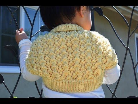 How to Knit an Easy and Lacy Baby Bolero (Shrug) - YouTube