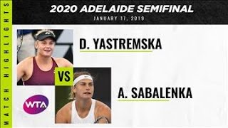 Dayana Yastremska vs. Aryna Sabalenka | 2020 Adelaide International Semifinal | WTA Highlights
