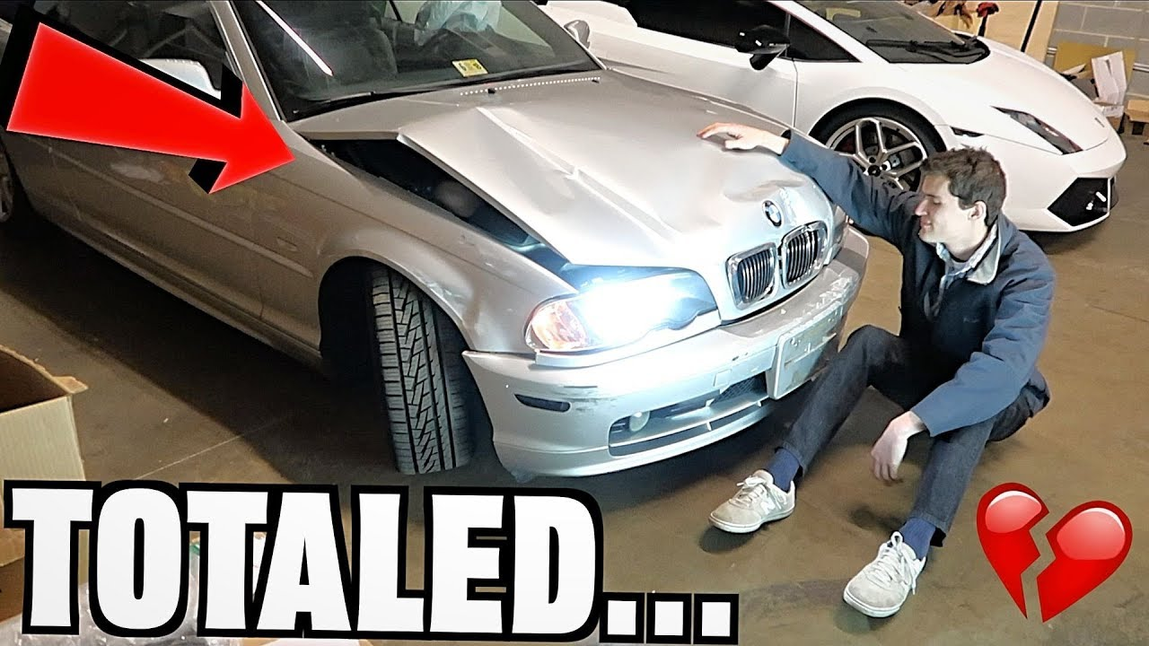 My BMW Is Totaled... Rip Wrecked E46 :( - YouTube