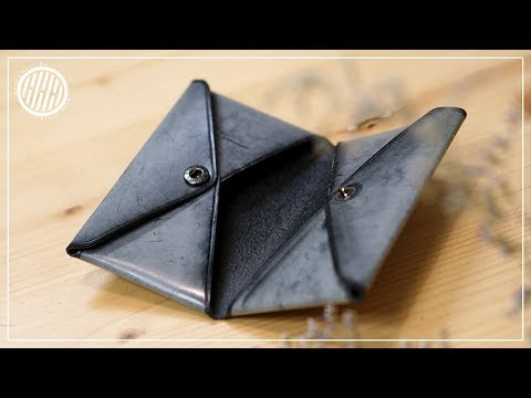 [Leather Craft] Making a Two pocket wallet without sewing / working sound / Pattern available