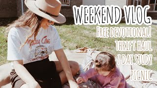 VLOG: 7 Day Study, Bump Friendly Thrift Haul, Picnic, Car Cleaning & More (: