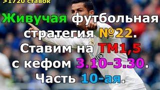 Футбольная стратегия №22. Ставим на ТМ1,5 с кефом 3.10-3.30. Часть 10-ая.