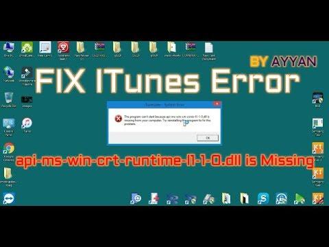 FIX ITunes Error api-ms-win-crt-runtime-l1-1-0 dll is Missing (update)