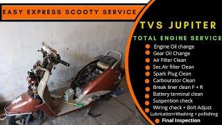 Tvs Jupiter complete #servicing || Engine oil, Gear Oil, Air Filter, spark #Tvsjupiter #Ronaklodha