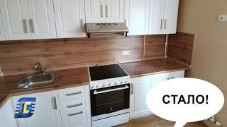 Модульная кухня «Регина», фасад Риф белоснежный. Проект «Дизайнер на дом».