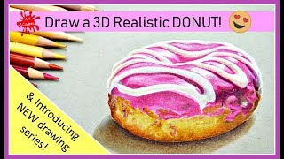 🍩How to DRAW a 3D REALISTIC PINK DONUT | DOUGHNUT drawing tutorial