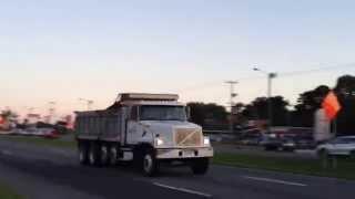 Volvo WG64 Kenworth T800 and Volvo VHD dump trucks