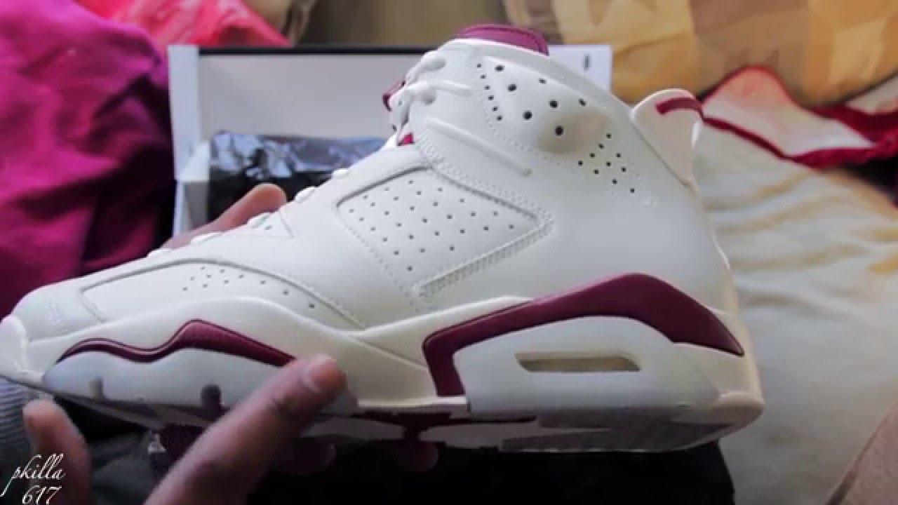 f760deaf324 Air Jordan 6 Maroon Sneaker Review and Detail look - YouTube