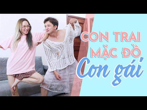CON TRAI MẶC ĐỒ CON GÁI   GUY TRY ON GIRL'S CLOTHING   HƯƠNG WITCH