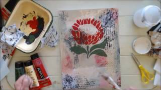 The Making of Protea - Mixed Media Collage