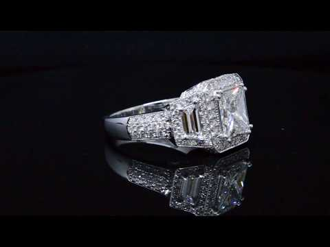 3 Stone Halo Princess Cut Diamond Engagement Ring