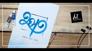 New Year #2019 Water Colour Poster | New Year Greetings | Drawing Tutorial