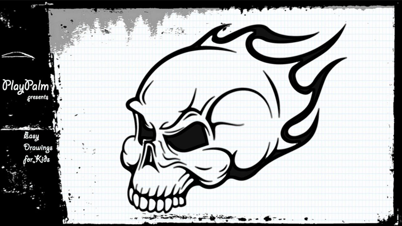 Draw Skull On Fire