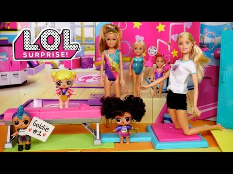 Barbie LOL Doll Family Gymnastics Competition Routine With Baby Goldie