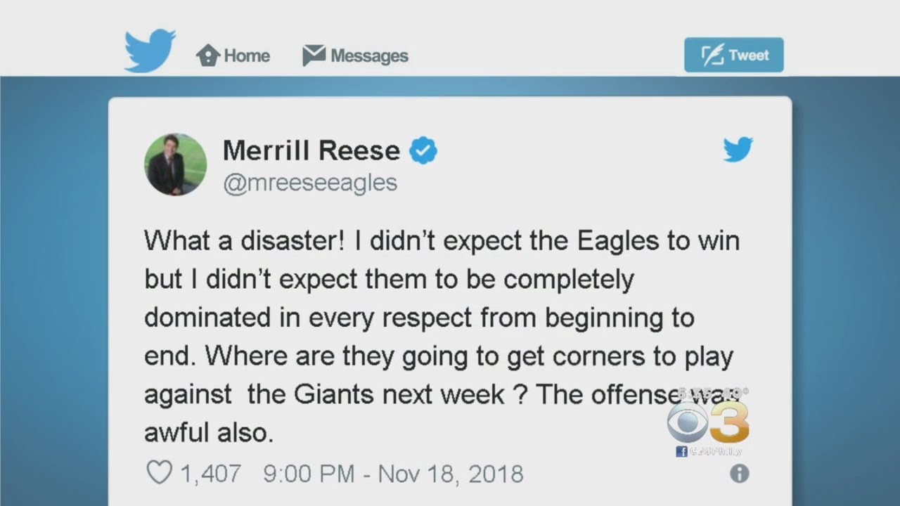 Merrill Reese Expresses Disappointment In Eagles On Social Media