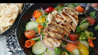 Easy and delicious grilled chicken salad recipe How I grill chicken breast using my Lodge grill pan