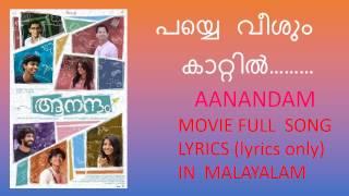 Payye Veesum Kaattil full song lyrics in malayalam I Aanandam movie song I Vineeth Sreenivasan