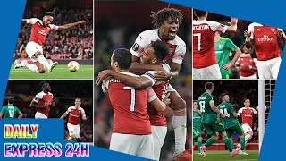 Arsenal 4-2 Vorskla: Aubameyang and Welbeck star in easy win