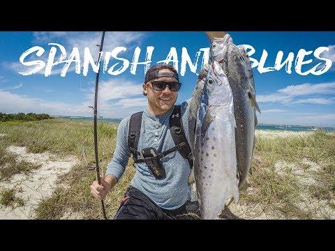 Surf fishing for Bluefish and Spanish Mackerel