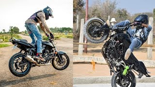 Fire Burnout & Stunning Stunts on Pulsar RS200 & Pulsar 220 By Nihal Ameer