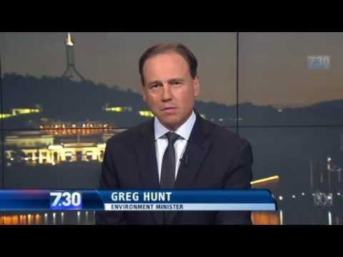 Greg Hunt crows about Clive and carbon tax axing (ABC 7.30, 29/10/14)