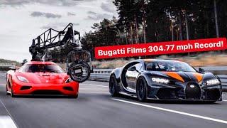 BUGATTI FILMS NEW 304.77 MPH RECORD! & *LAMBORGHINIS $3M HYBRID*
