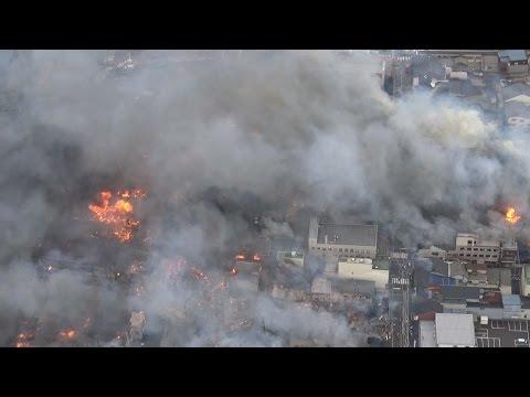 糸魚川で大火、避難勧告 強風で延焼
