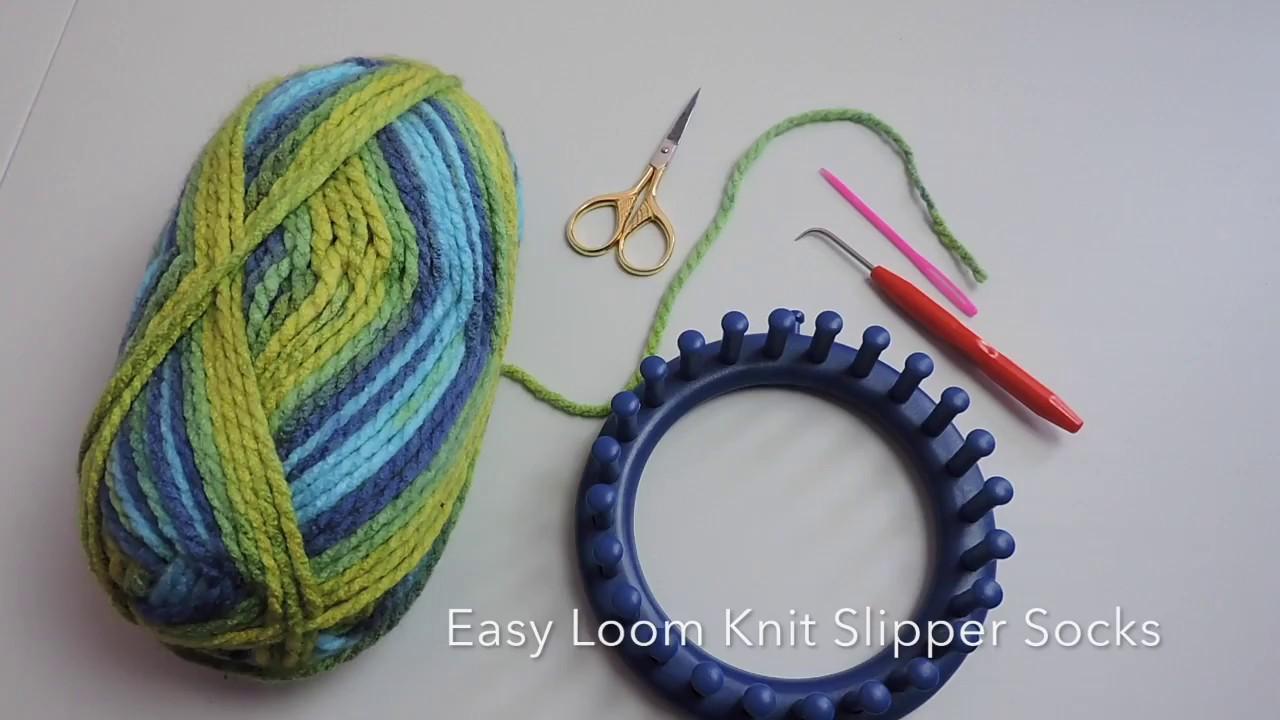 Easy Loom Knit Slipper Socks - YouTube