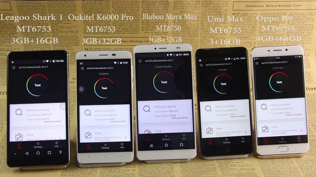 Bluboo Maya Max vs Oppo R9 vs UMi Max vs Oukitel K6000 Pro vs Leagoo Shark  1 comparison video