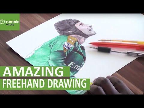 Time Lapse: Petr Cech Ballpoint Pen Freehand Art