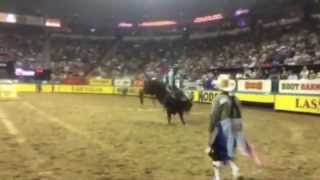 Cody Teel Rides Make Ya Famous at 2014 Wrangler National Finals Rodeo